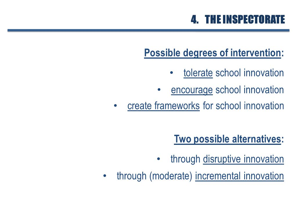 tolerate school innovation encourage school innovation create frameworks for school innovation Possible degrees of intervention: 4.