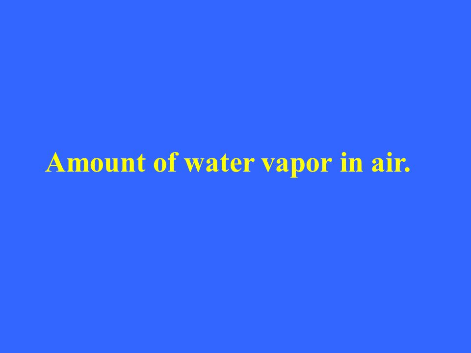 Amount of water vapor in air.