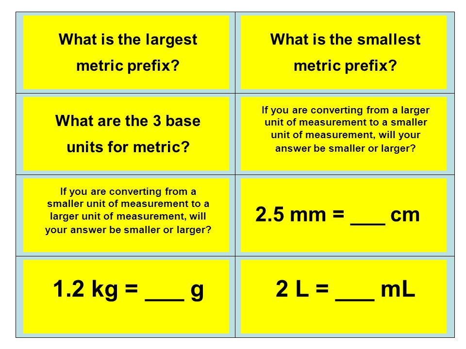 Kilo Meter, Gram, Liter Smaller (you divide) Milli Larger (you multiply) 0.25 cm (move decimal one place to the left) (divide by 10) 1,200 g (move the