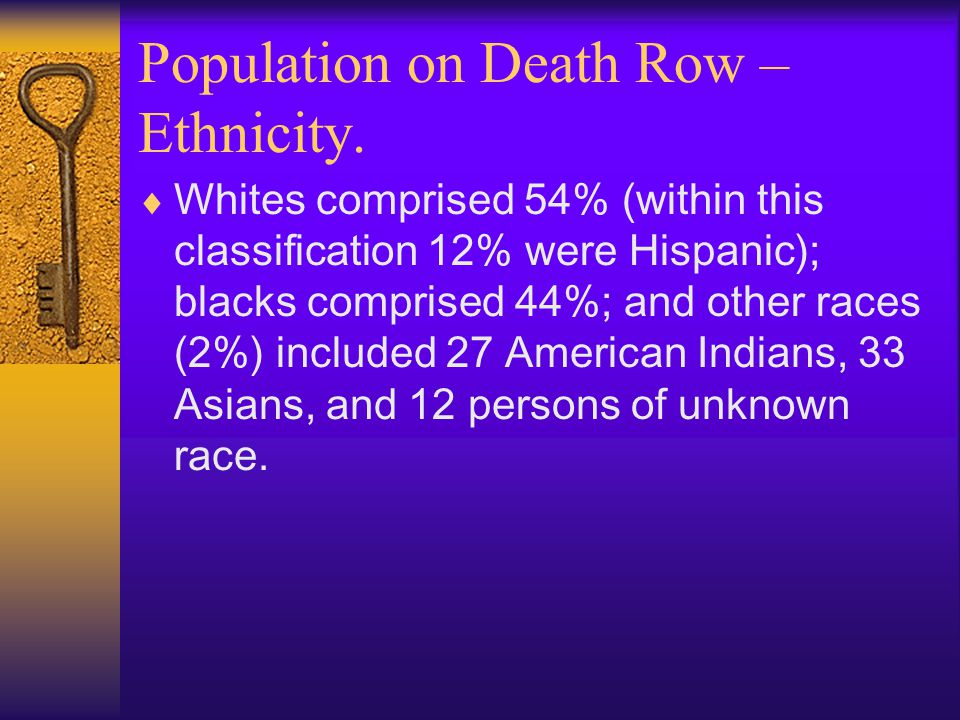Population on Death Row – Ethnicity.  Whites comprised 54% (within this classification 12% were Hispanic); blacks comprised 44%; and other races (2%)