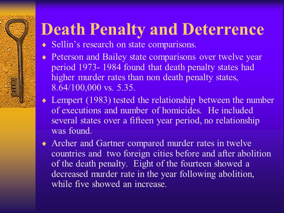 Death Penalty and Deterrence  Sellin's research on state comparisons.