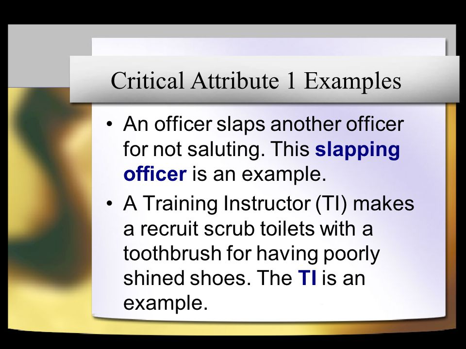 Critical Attribute 1 Examples An officer slaps another officer for not saluting. This slapping officer is an example. A Training Instructor (TI) makes