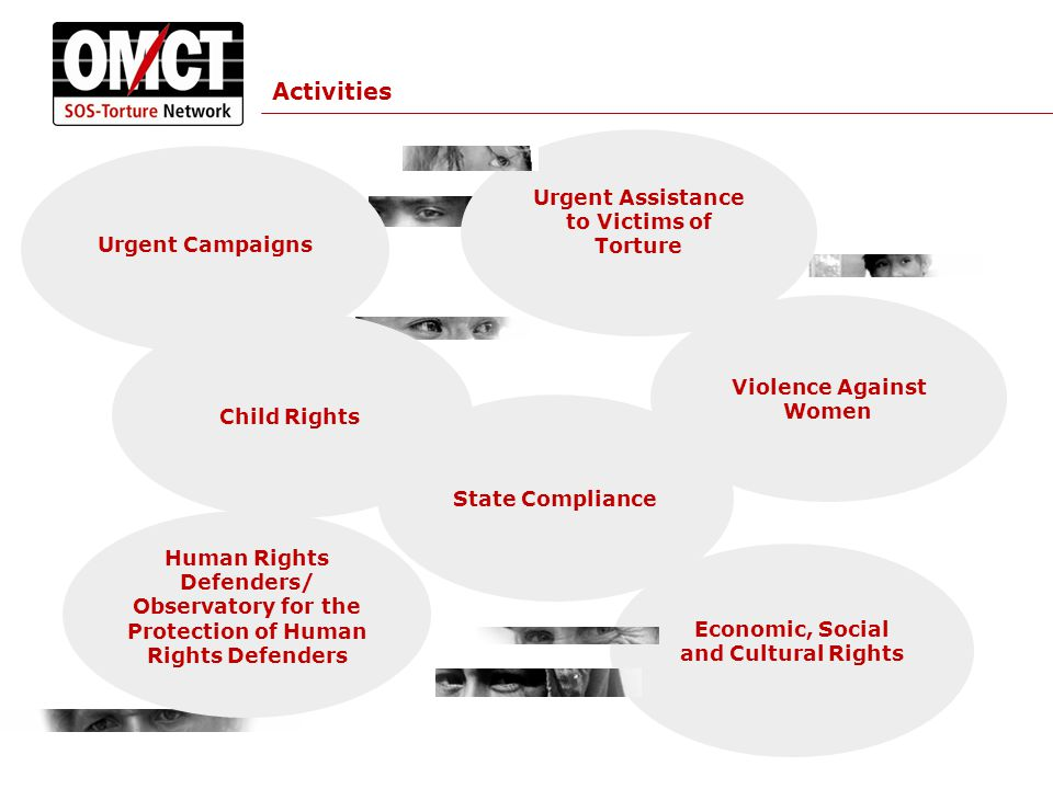 Activities Economic, Social and Cultural Rights Urgent Campaigns Violence Against Women Child Rights Urgent Assistance to Victims of Torture State Compliance Human Rights Defenders/ Observatory for the Protection of Human Rights Defenders