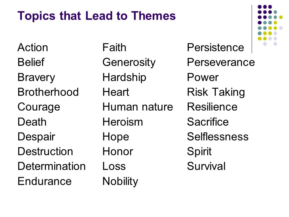 Topics that Lead to Themes Action Belief Bravery Brotherhood Courage Death Despair Destruction Determination Endurance Faith Generosity Hardship Heart Human nature Heroism Hope Honor Loss Nobility Persistence Perseverance Power Risk Taking Resilience Sacrifice Selflessness Spirit Survival