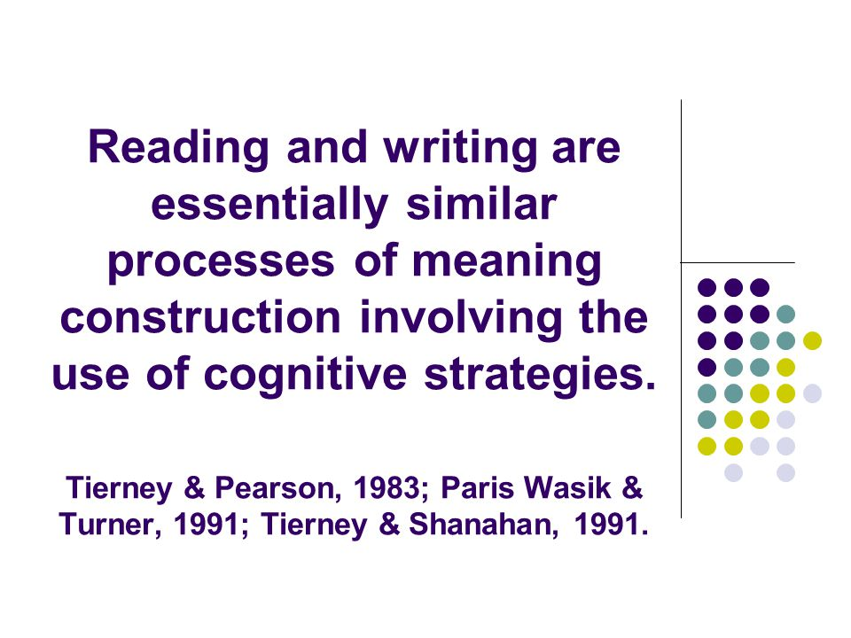 Reading and writing are essentially similar processes of meaning construction involving the use of cognitive strategies.