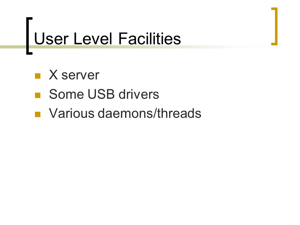 User Level Facilities X server Some USB drivers Various daemons/threads