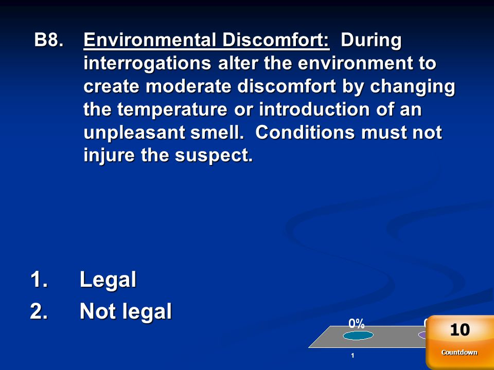 B8.Environmental Discomfort: During interrogations alter the environment to create moderate discomfort by changing the temperature or introduction of an unpleasant smell.