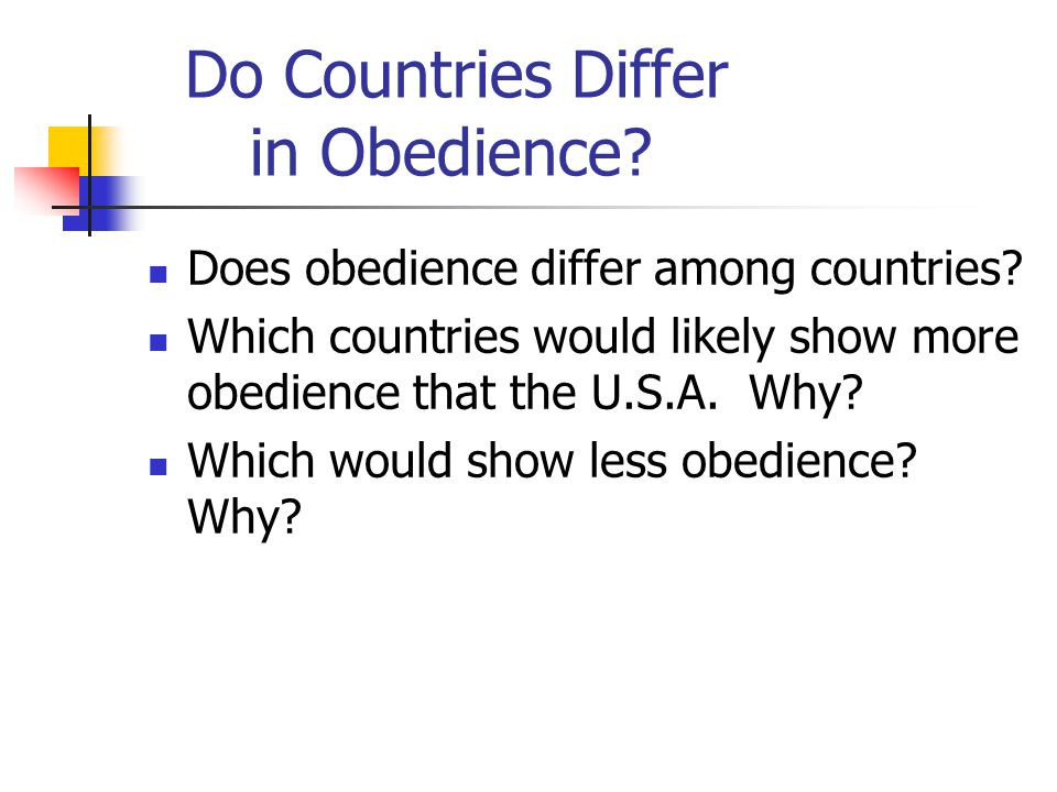 Do Countries Differ in Obedience. Does obedience differ among countries.