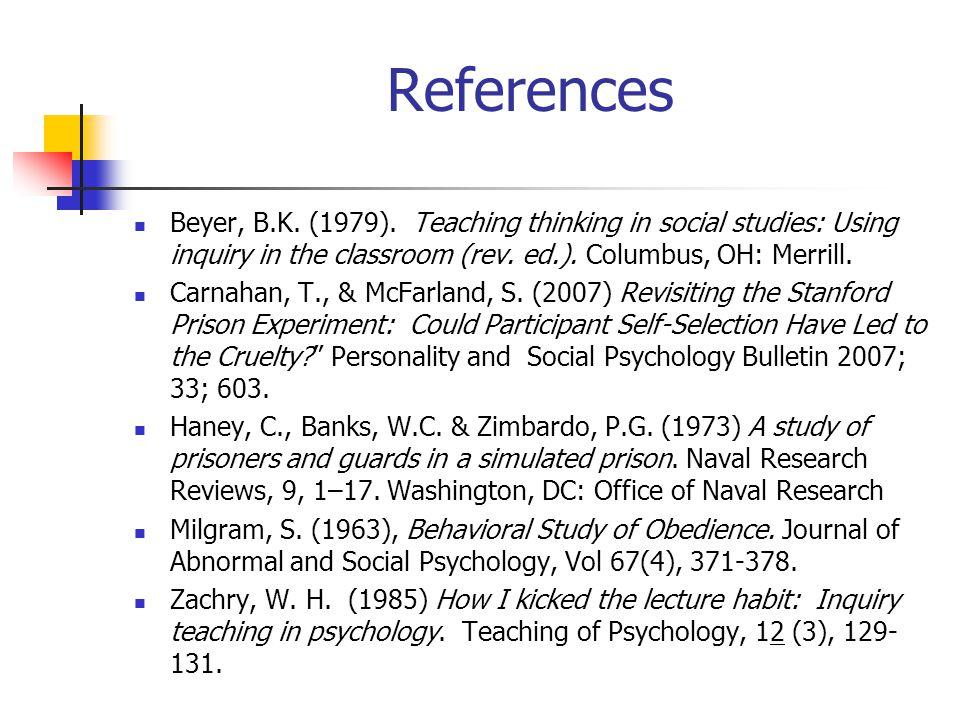 References Beyer, B.K. (1979).