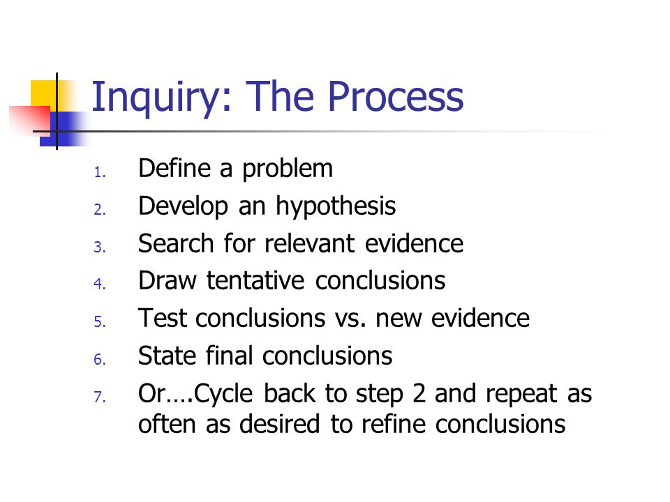 Inquiry: The Process 1. Define a problem 2. Develop an hypothesis 3.