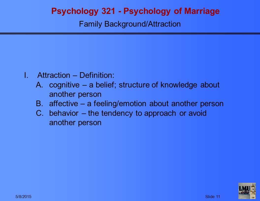 Psychology 321 - Psychology of Marriage Family Background/Attraction 5/8/2015Slide 11 I.Attraction – Definition: A.cognitive – a belief; structure of knowledge about another person B.affective – a feeling/emotion about another person C.behavior – the tendency to approach or avoid another person