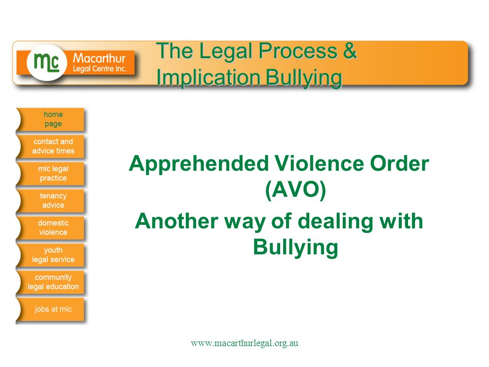 The Legal Process & Implication Bullying Apprehended Violence Order (AVO) Another way of dealing with Bullying www.macarthurlegal.org.au
