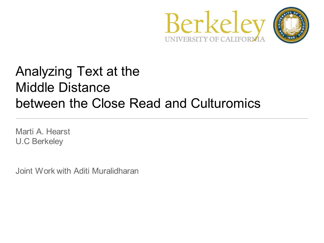 Analyzing Text at the Middle Distance between the Close Read and Culturomics Marti A.