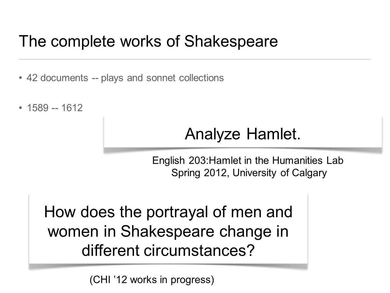 The complete works of Shakespeare 42 documents -- plays and sonnet collections 1589 -- 1612 Analyze Hamlet.