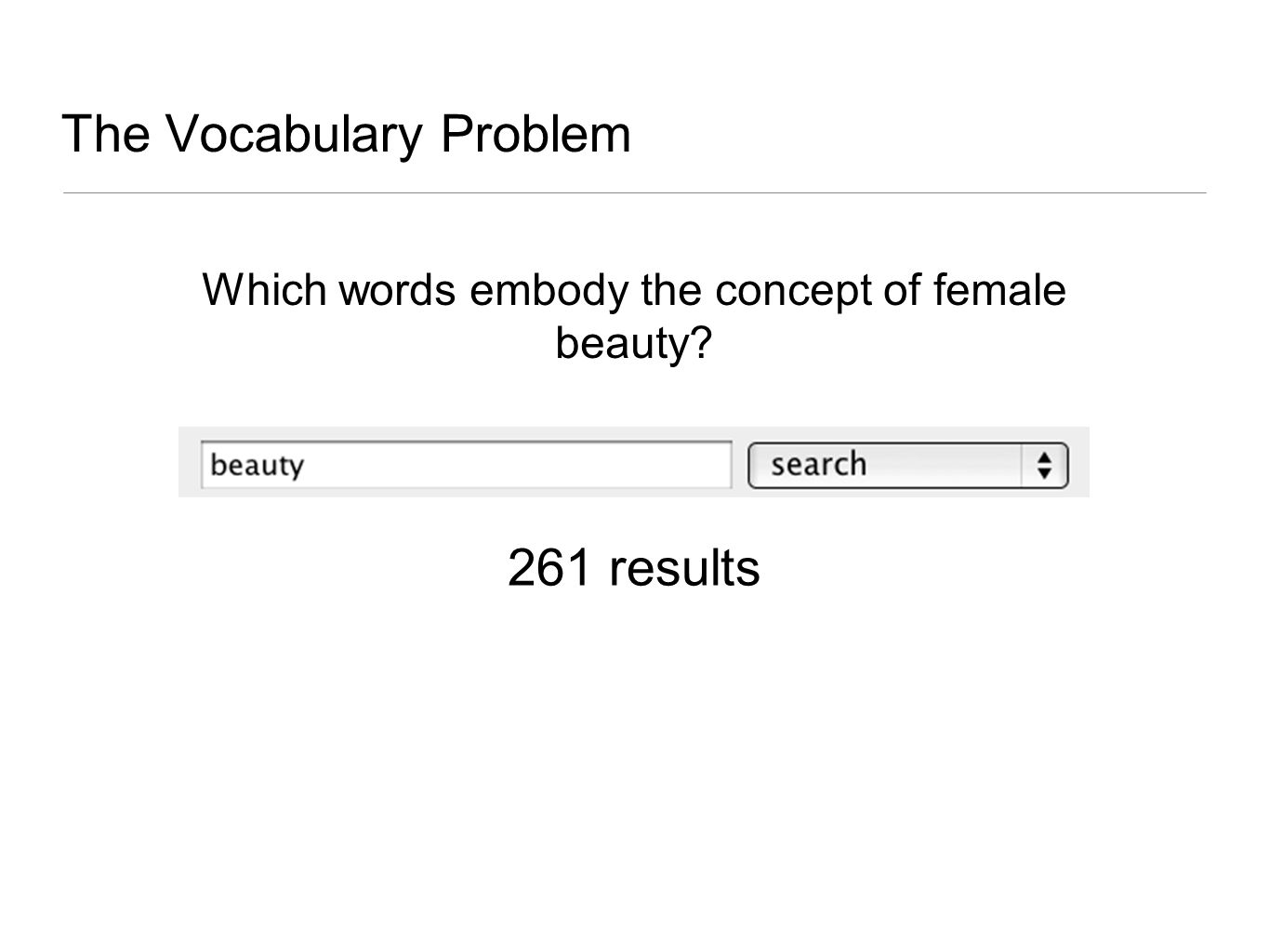 The Vocabulary Problem Which words embody the concept of female beauty 261 results