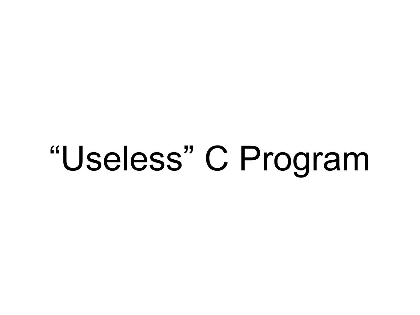 """Useless"" C Program"