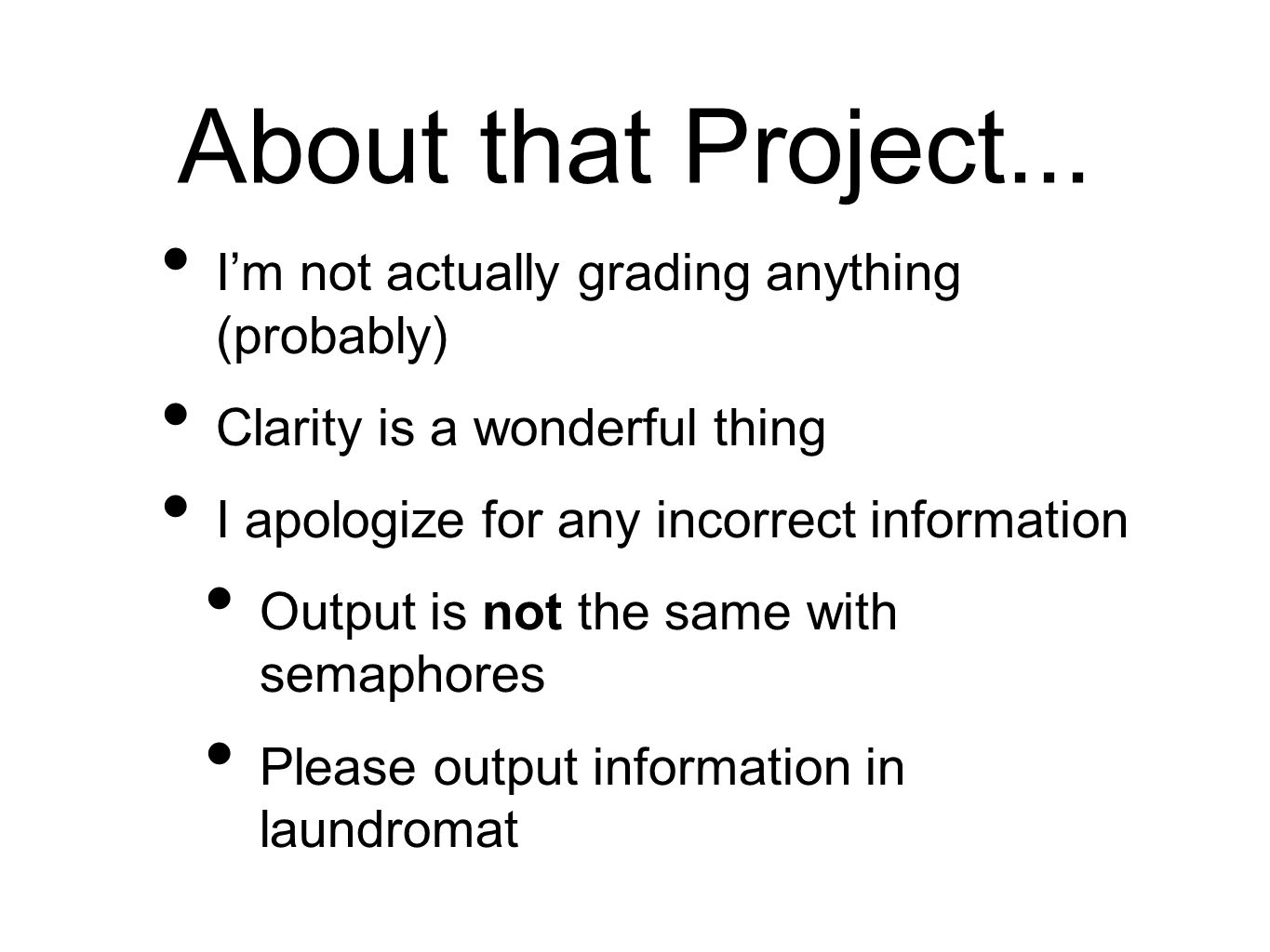 About that Project...