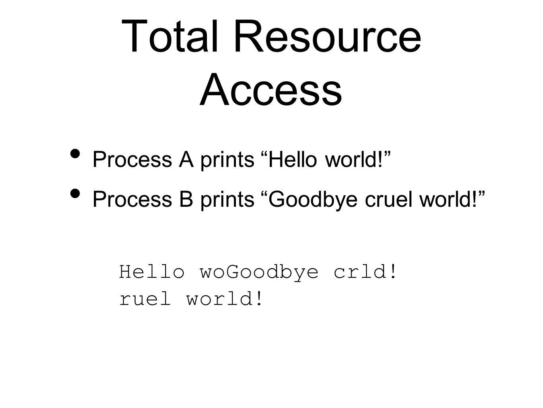 Total Resource Access Process A prints Hello world! Process B prints Goodbye cruel world! Hello woGoodbye crld.