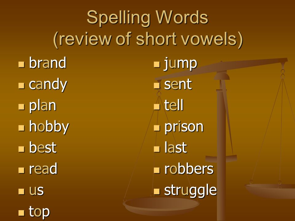 Spelling Words (review of short vowels) brand brand candy candy plan plan hobby hobby best best read read us us top top jump sent tell prison last rob