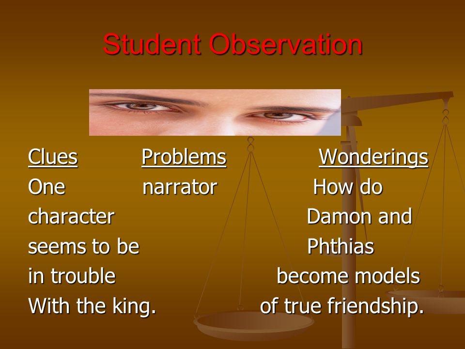 Student Observation Clues Problems Wonderings One narrator How do character Damon and seems to be Phthias in trouble become models With the king. of t