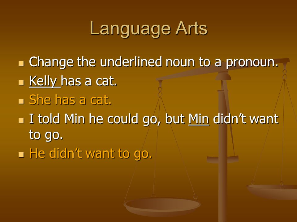 Language Arts Change the underlined noun to a pronoun. Change the underlined noun to a pronoun. Kelly has a cat. Kelly has a cat. She has a cat. She h
