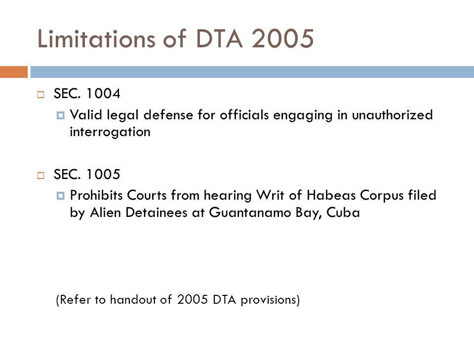 Limitations of DTA 2005  SEC.