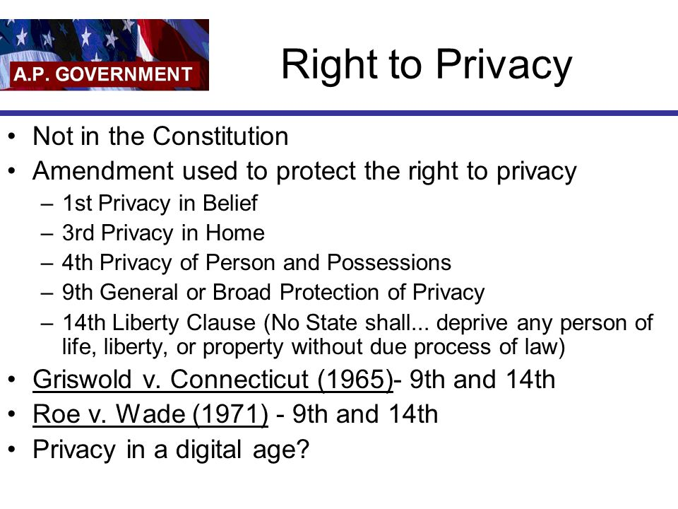 Right to Privacy Not in the Constitution Amendment used to protect the right to privacy –1st Privacy in Belief –3rd Privacy in Home –4th Privacy of Person and Possessions –9th General or Broad Protection of Privacy –14th Liberty Clause (No State shall...