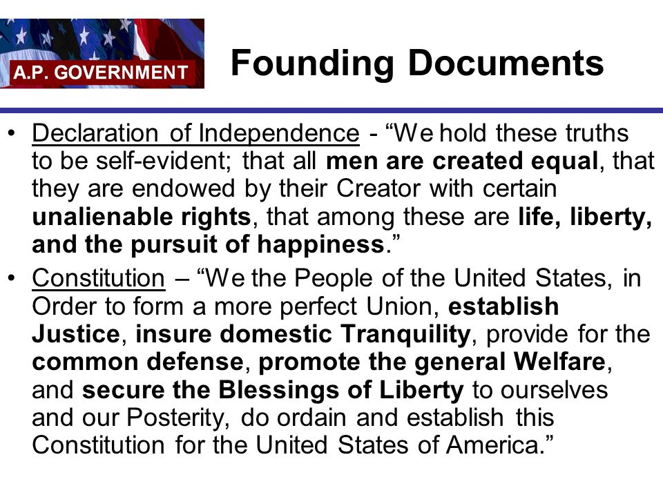 """Founding Documents Declaration of Independence - """"We hold these truths to be self-evident; that all men are created equal, that they are endowed by th"""