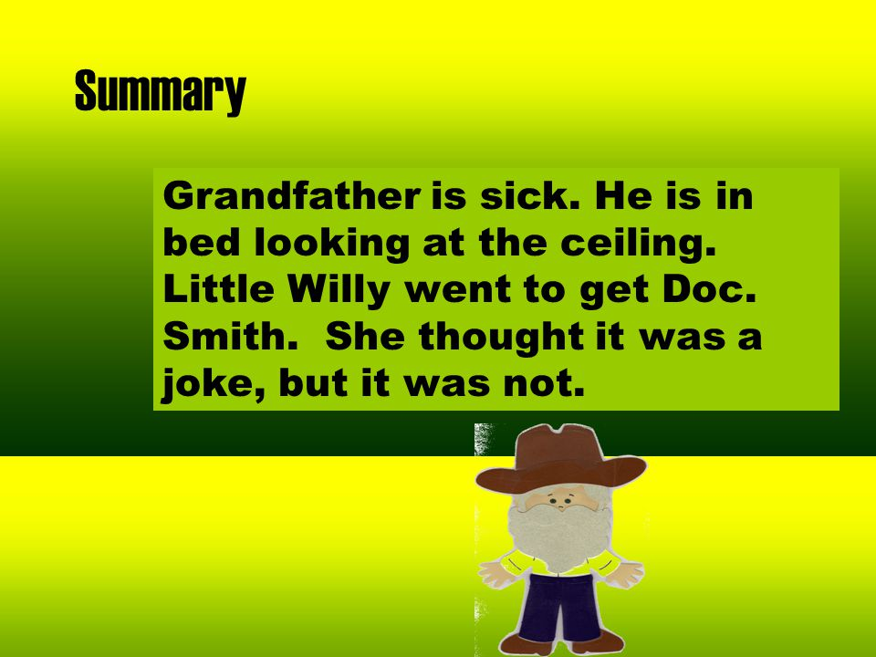 Summary Grandfather is sick.He is in bed looking at the ceiling.