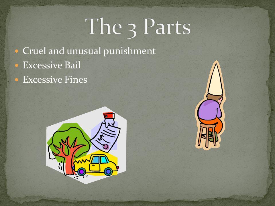 Cruel and unusual punishment Excessive Bail Excessive Fines