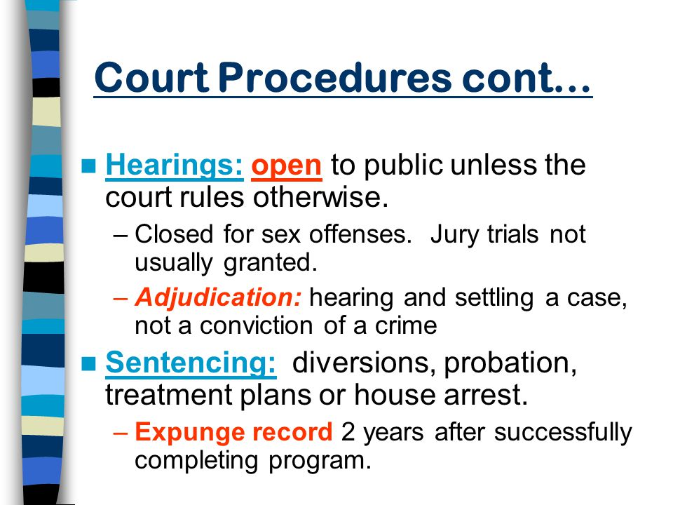 Court Procedures cont… Hearings: open to public unless the court rules otherwise.