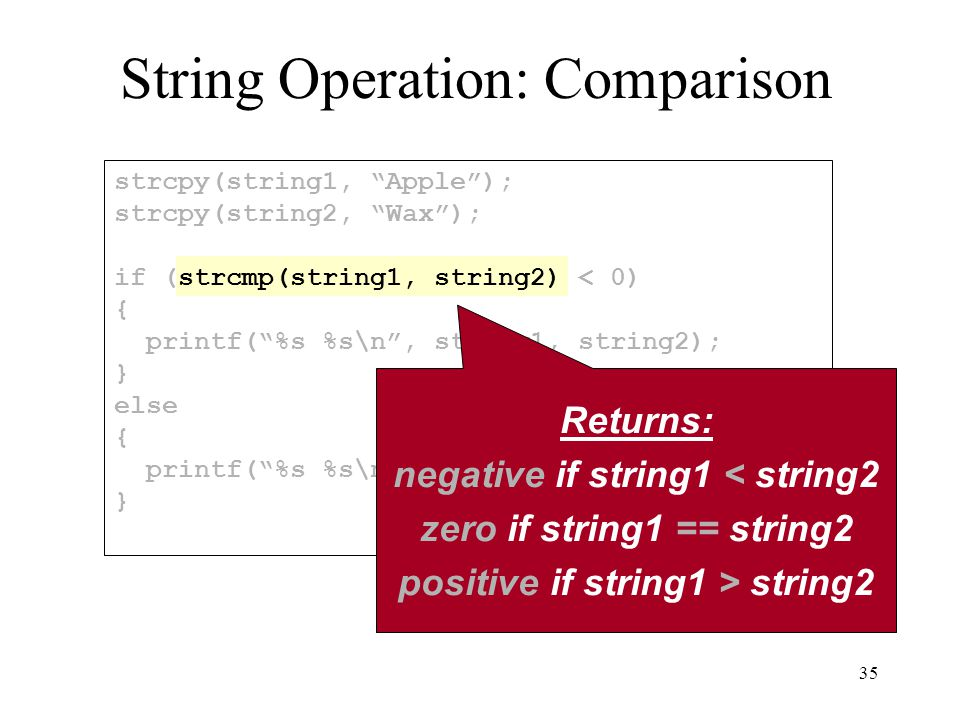 35 strcpy(string1, Apple ); strcpy(string2, Wax ); if (strcmp(string1, string2) < 0) { printf( %s %s\n , string1, string2); } else { printf( %s %s\n , string2, string1); } String Operation: Comparison Returns: negative if string1 < string2 zero if string1 == string2 positive if string1 > string2
