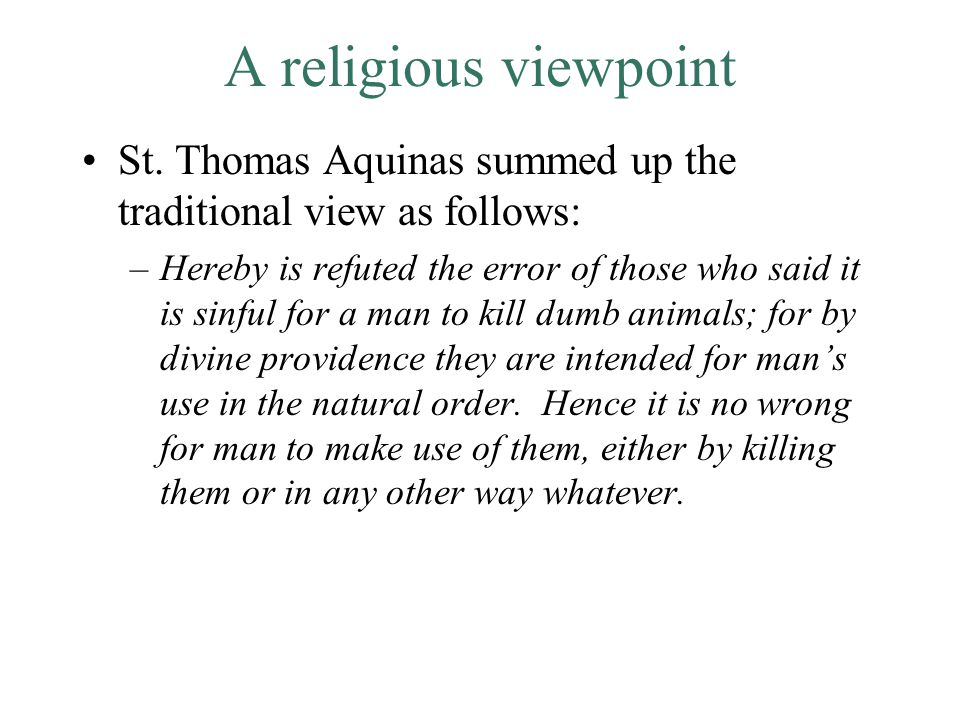 A religious viewpoint St.