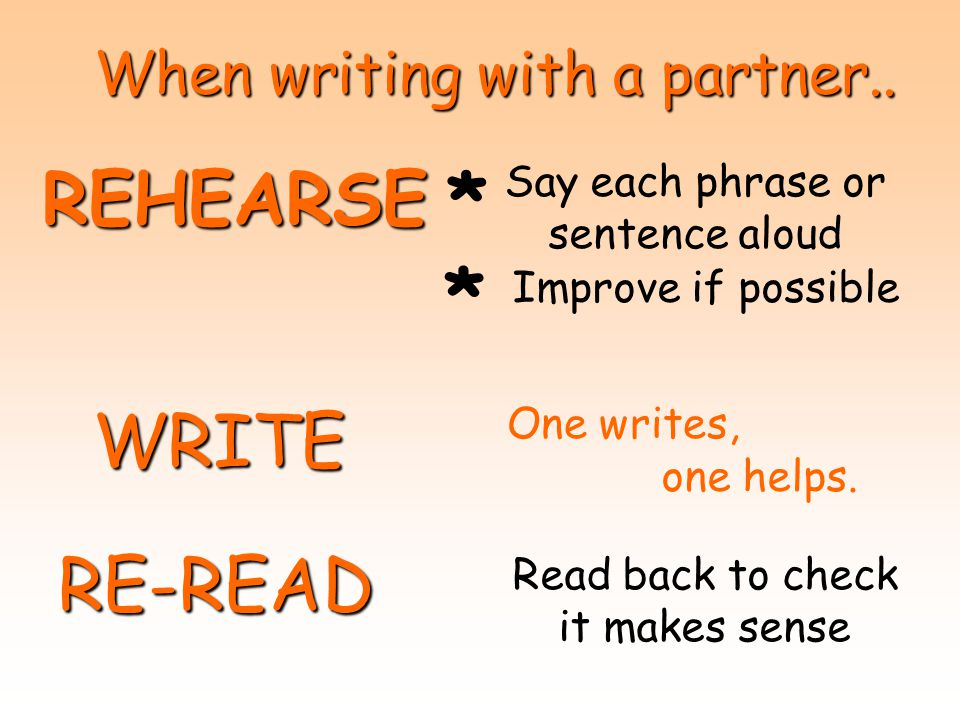 When writing with a partner.. REHEARSE Say each phrase or sentence aloud Improve if possible WRITE One writes, one helps. RE-READ Read back to check i