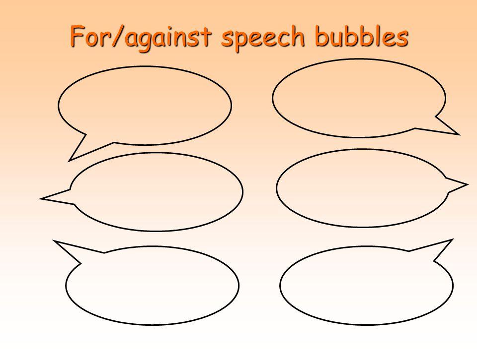 For/against speech bubbles