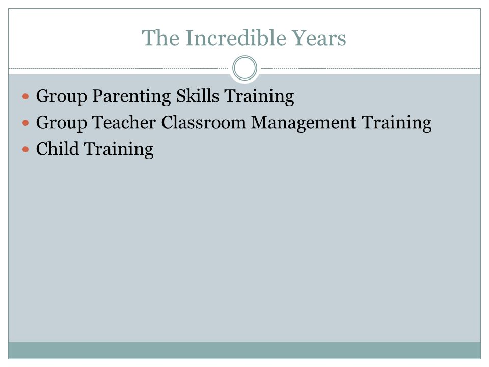 The Incredible Years Group Parenting Skills Training Group Teacher Classroom Management Training Child Training