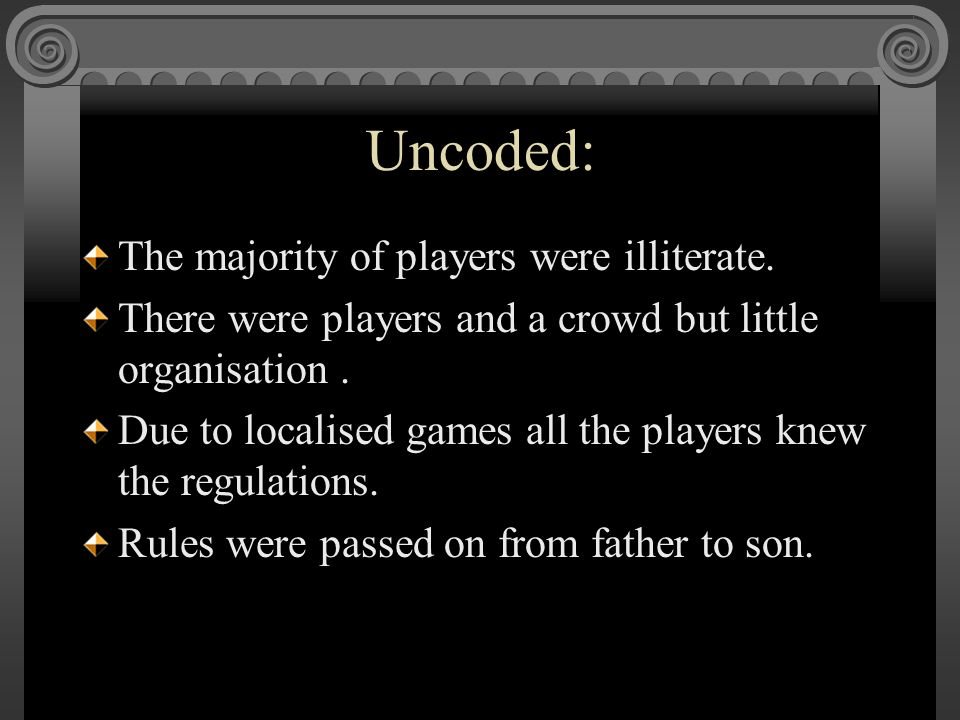Uncoded: The majority of players were illiterate. There were players and a crowd but little organisation. Due to localised games all the players knew