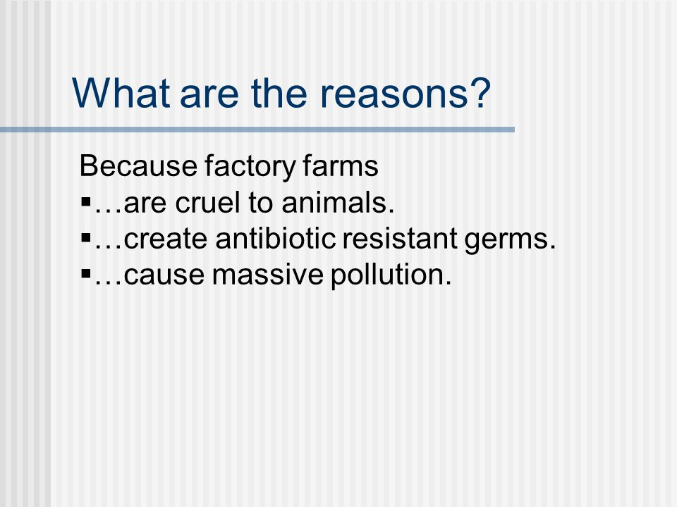 What are the reasons. Because factory farms are  …are cruel to animals.