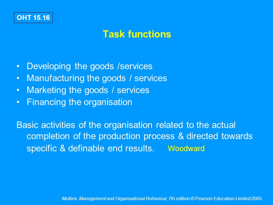 Mullins: Management and Organisational Behaviour, 7th edition © Pearson Education Limited 2005 OHT 15.16 Task functions Developing the goods /services