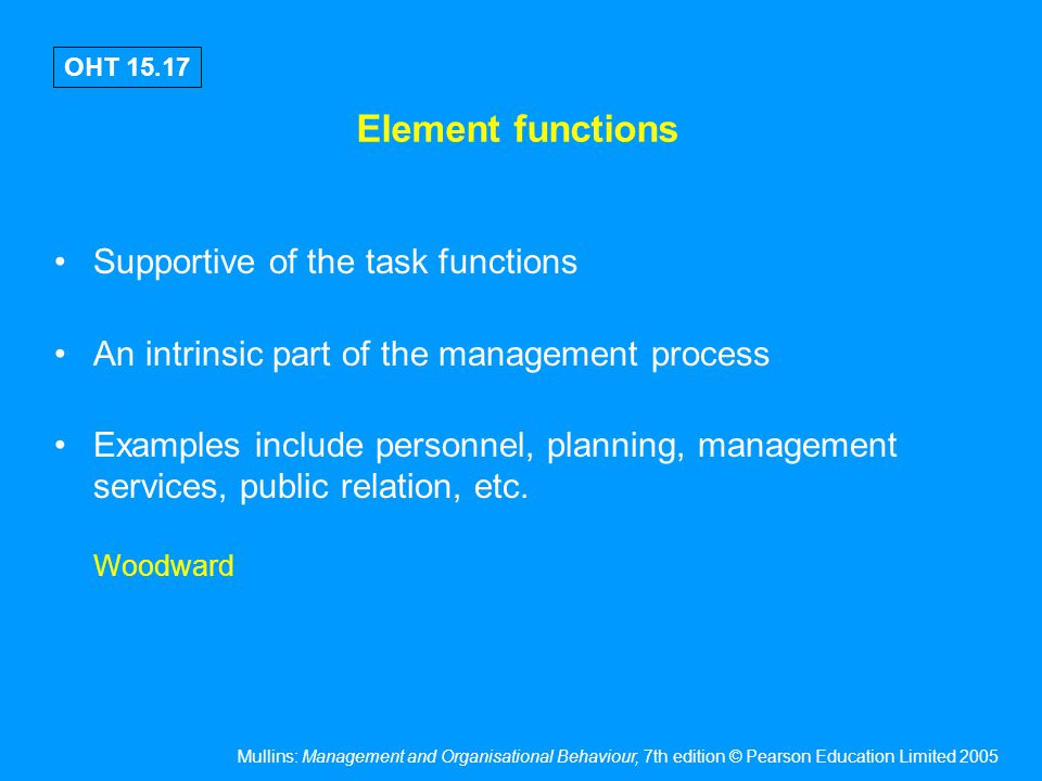 Mullins: Management and Organisational Behaviour, 7th edition © Pearson Education Limited 2005 OHT 15.17 Element functions Supportive of the task func