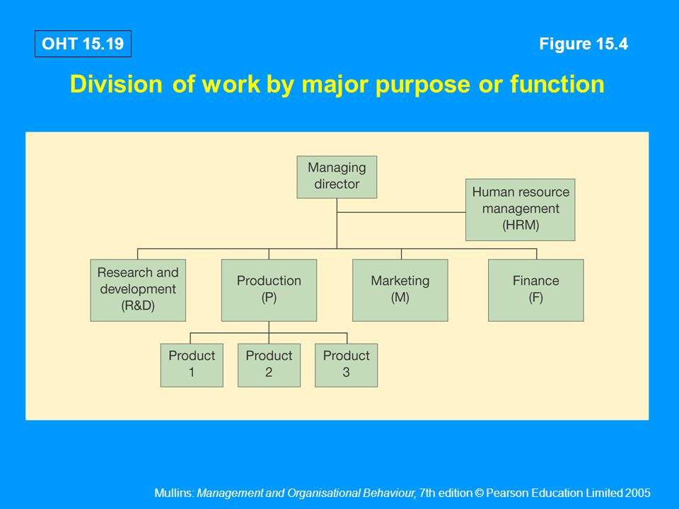 Mullins: Management and Organisational Behaviour, 7th edition © Pearson Education Limited 2005 OHT 15.19 Division of work by major purpose or function