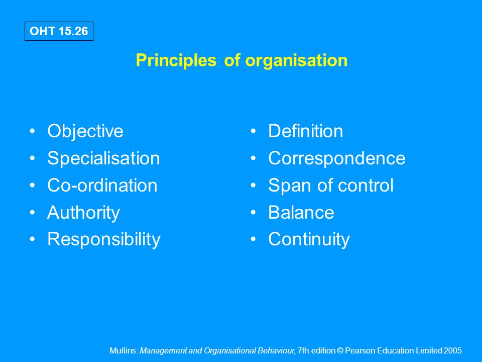 Mullins: Management and Organisational Behaviour, 7th edition © Pearson Education Limited 2005 OHT 15.26 Principles of organisation Objective Speciali