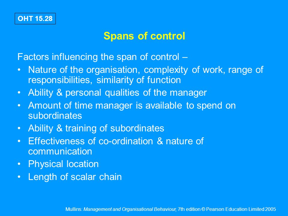 Mullins: Management and Organisational Behaviour, 7th edition © Pearson Education Limited 2005 OHT 15.28 Spans of control Factors influencing the span