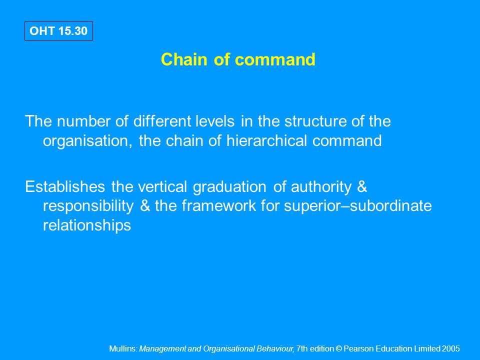 Mullins: Management and Organisational Behaviour, 7th edition © Pearson Education Limited 2005 OHT 15.30 Chain of command The number of different leve