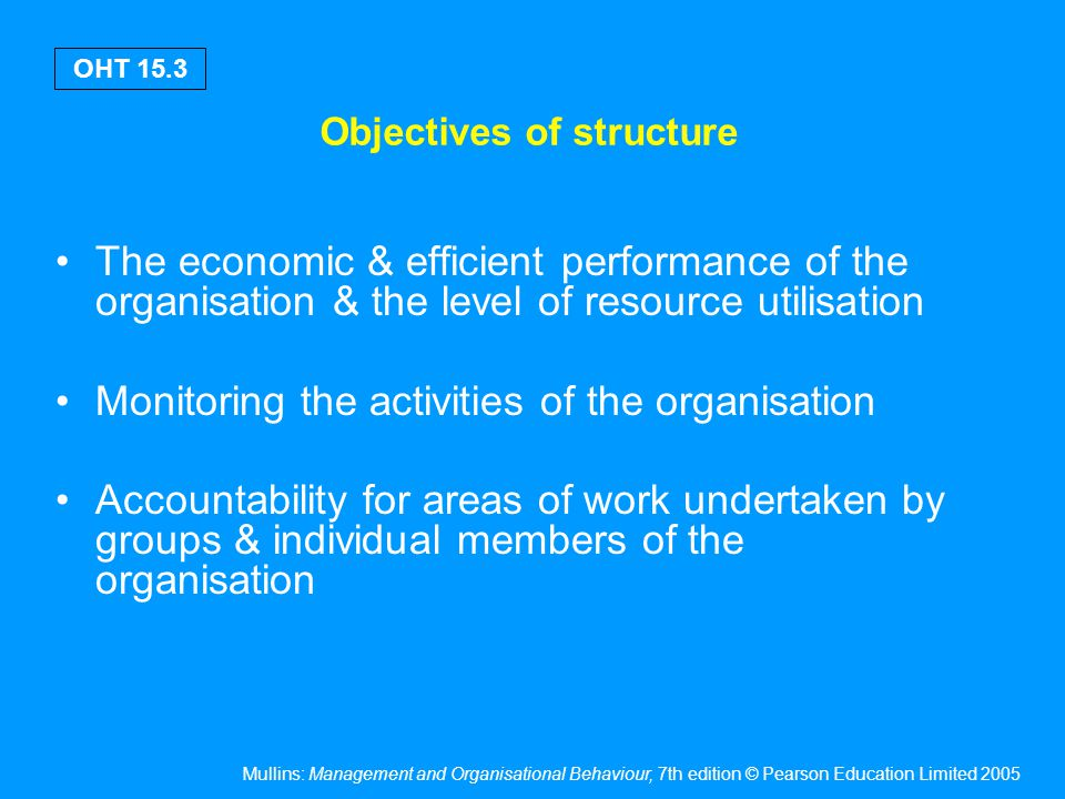 Mullins: Management and Organisational Behaviour, 7th edition © Pearson Education Limited 2005 OHT 15.4 Objectives of structure Co-ordination of different parts of the organisation & different areas of work Flexibility in order to respond to future demands & developments & to adapt to changing environmental influences The social satisfaction of members working in the organisation Knight