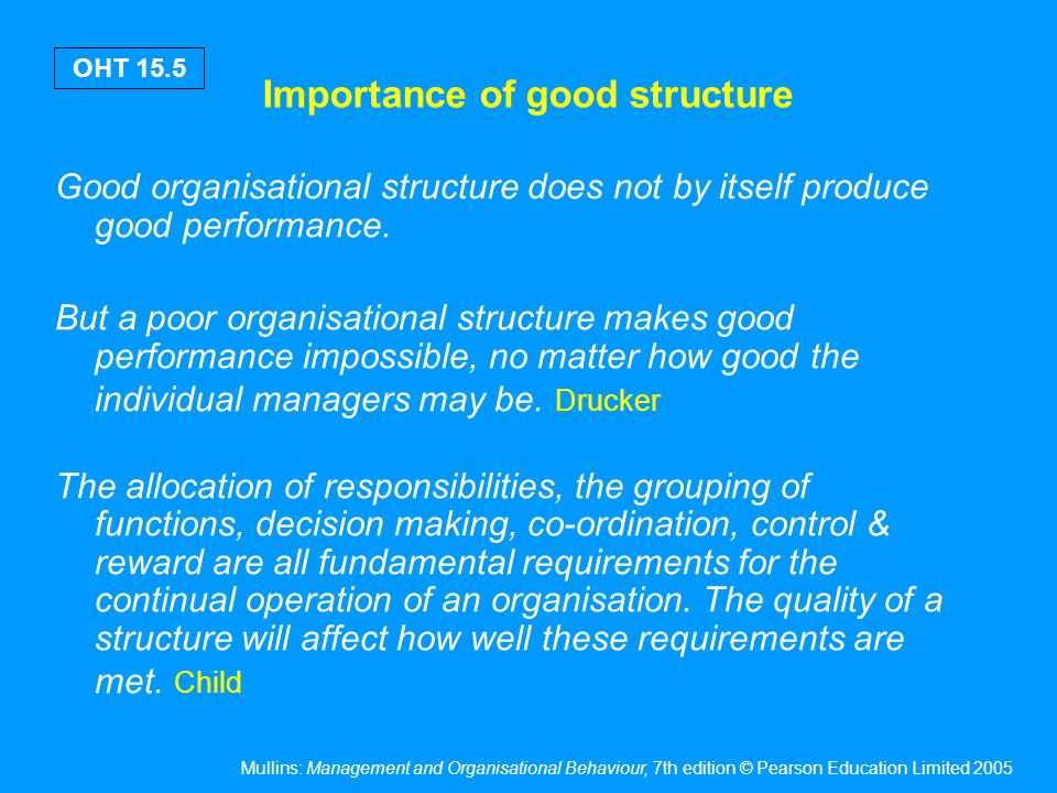 Mullins: Management and Organisational Behaviour, 7th edition © Pearson Education Limited 2005 OHT 15.16 Task functions Developing the goods /services Manufacturing the goods / services Marketing the goods / services Financing the organisation Basic activities of the organisation related to the actual completion of the production process & directed towards specific & definable end results.
