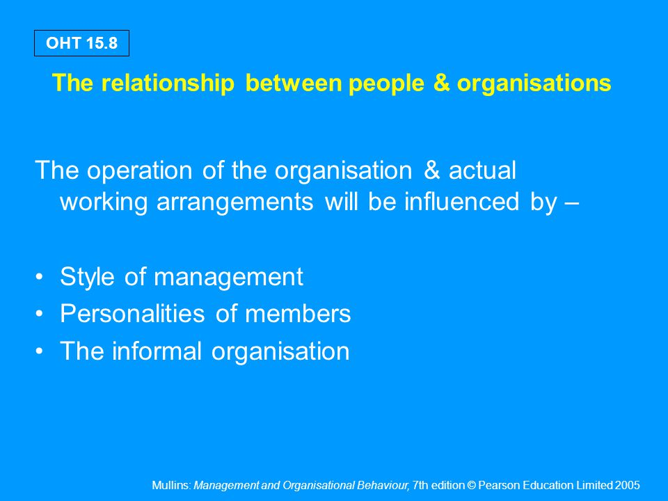 Mullins: Management and Organisational Behaviour, 7th edition © Pearson Education Limited 2005 OHT 15.8 The relationship between people & organisation