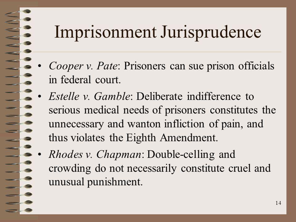 14 Imprisonment Jurisprudence Cooper v. Pate: Prisoners can sue prison officials in federal court.