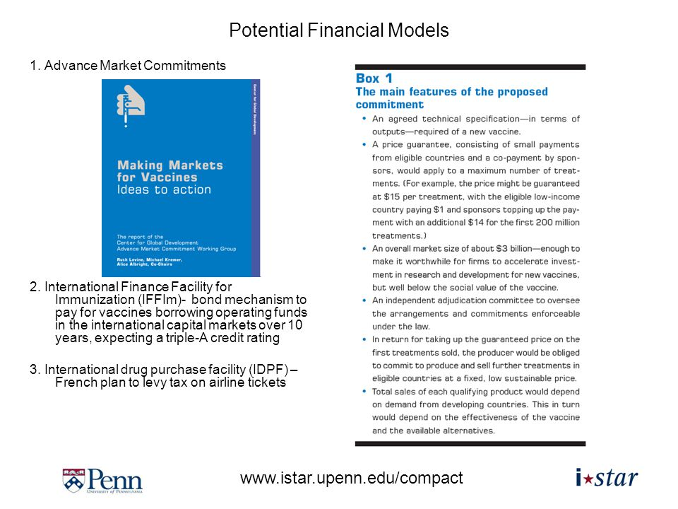 www.istar.upenn.edu/compact Potential Financial Models 1.