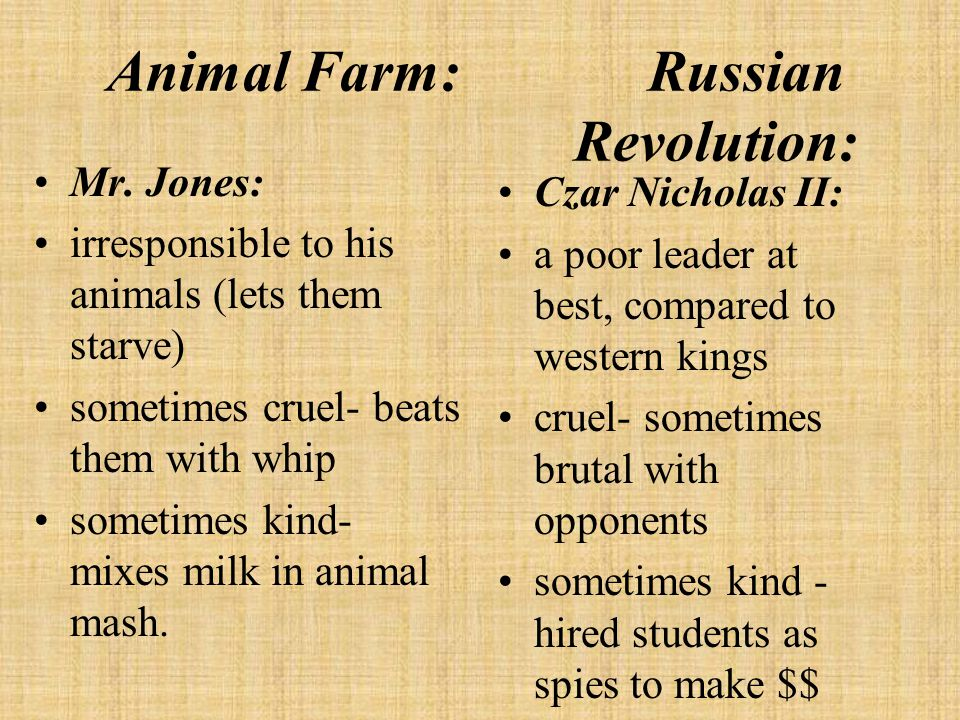 Old Major: taught Animalism workers do the work, rich keep the $, animals revolt dies before the revolution Karl Marx: invented Communism workers of the world unite , take over the government dies before Russian Revolution